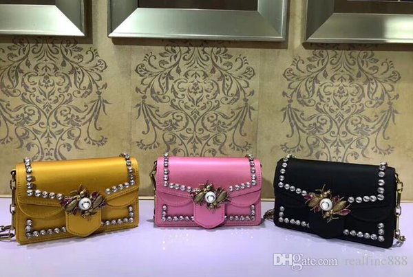 AAAAA 489218 Broadway Fabric Mini Shoulder Bag Metal bees crystal wings and pearl closure Leather Lining with Box Dust Bag Serial number