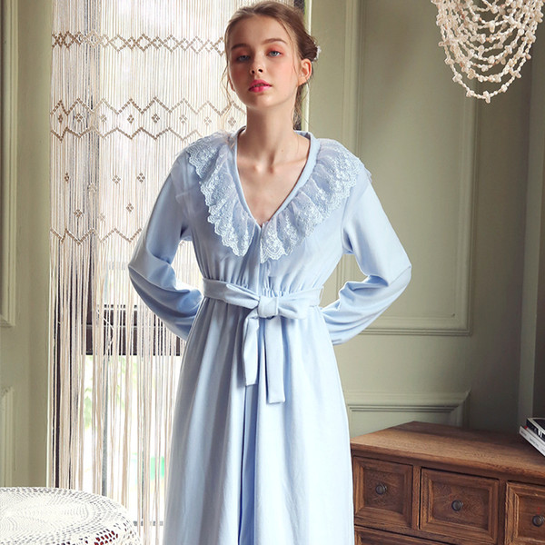 Elegant Robes Nightgown Autumn Winter Robe Women Girl Bathrobe Sweet  Princess Sleepwear Lace Long Dressing Gown 65c675047