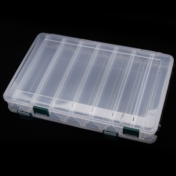 H12006 27184.7CM Double Sided High Strength Transparent Visible Plastic Fishing Lure Box 14 Compartments
