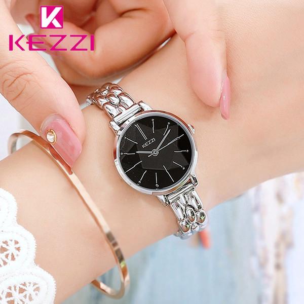 KEZZI Bracciale donna semplice orologi Ladies cinturino in acciaio inossidabile orologio da polso al quarzo impermeabile orologio da polso Orologio Montre Femme