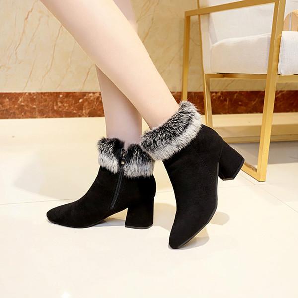 Frauen Stiefel Mode Lässig Damen Schuhe Winter Pelzigen Kaninchenhaar Faux Wildleder Stiefel Hochhackige Weibliche Stiefeletten