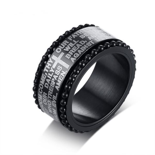 Cool Spinner Cross Rings for Men Black Tone Stainless Steel Engraved Bible Prayer Male Finger Anel Gifts Ring Size 8-12