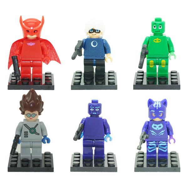 6Pcs 5cm PJ masks Characters Catboy Action Figure Toys Building Blocks Sets Classic Best Toy Children Gift