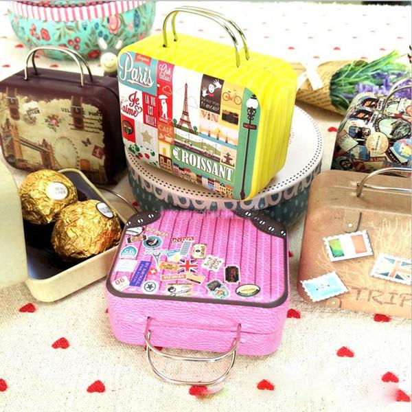 75x55x35mm небольшой олова старинные партии прямоугольник сумка чемодан багажа в форме конфеты коробка свадьба пользу подарочные коробки