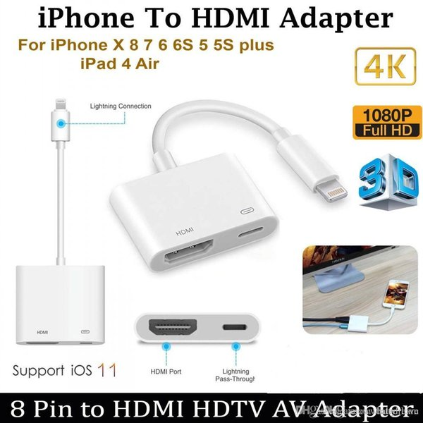 HD 1080P 8Pin for Light to HDMI Digital AV Audio Video Adapter Cable For iPhone iPad to HDMI HDTV Display Converter