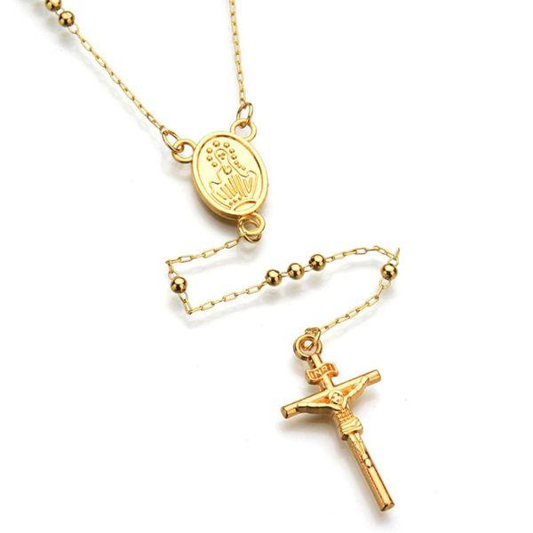Sangdo Men/Women Cross-Design Pendant Beads Necklace Hip Hop Fashionable Jewelry