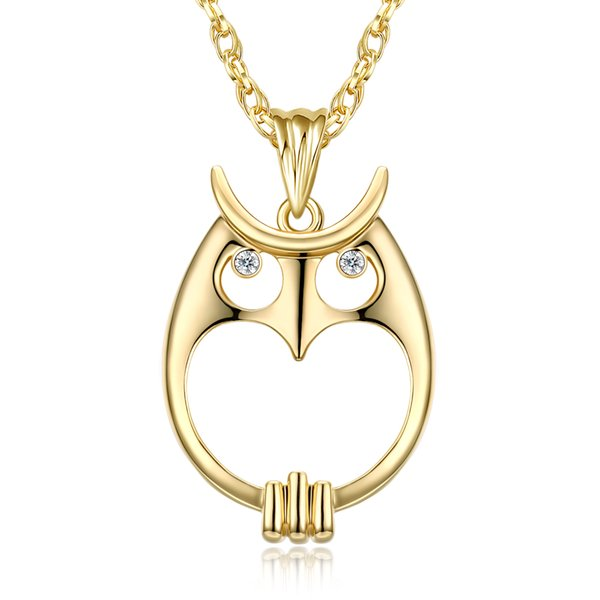 Magnifying glass necklace for reading fashion Owl pendant necklace Rhodium plated with crystal Magnifier necklace