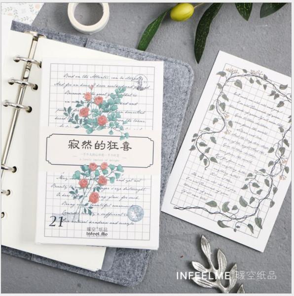 30 unids / pack Rose planta de la temporada de flores hojas verdes Tarjeta de Felicitación Postal Tarjeta de Mensaje de Cumpleaños Envoltura de Regalo