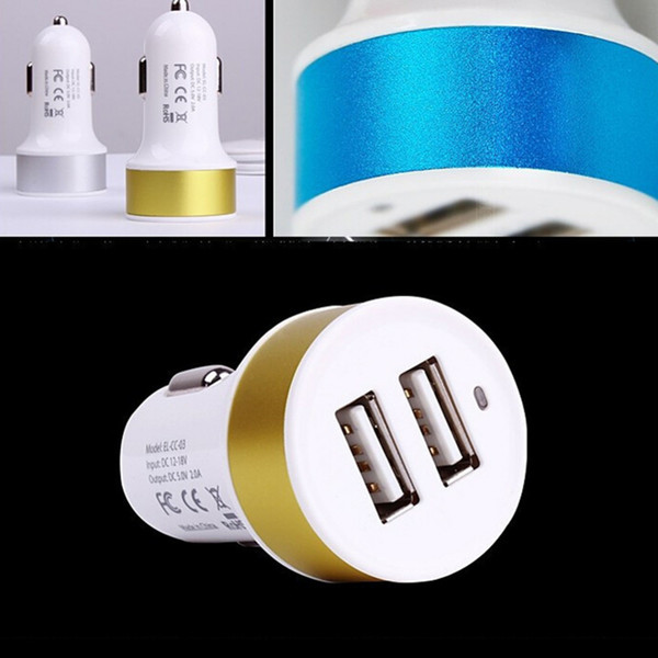 Hot Mini Colorful Car Charger Dual 2 Port 5V 1A 2.1A Universal USB auto power adapter Charging AC12-24V for all Phones free ship