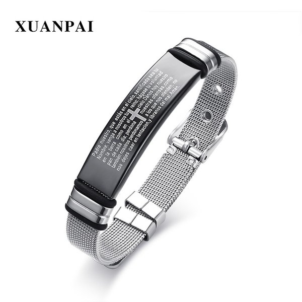 XUANPAI Engraved Bible Cross Bracelet for Men Bangle Adjustable Watch Band Design Stainless Steel Male Lord Christ Jewelry