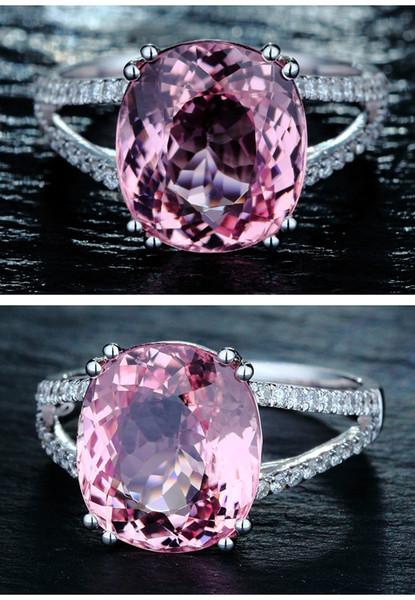 2018 Новый европейский и американский мода обручальное кольцо инкрустированные розовый бриллиант кольцо ювелирные изделия тенденция дорогая