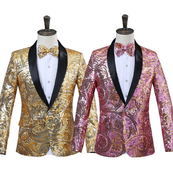 Fashion print sequins blazer jacket mens spring slim fit casual blazer for men high quality prom stage wear for singer dancer