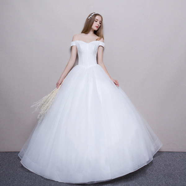 top popular Off Shoulder Ball Gown Wedding Dresses 2019 White Ivory Wedding Gowns New Beaded Bridal Gown Lace Up 2021