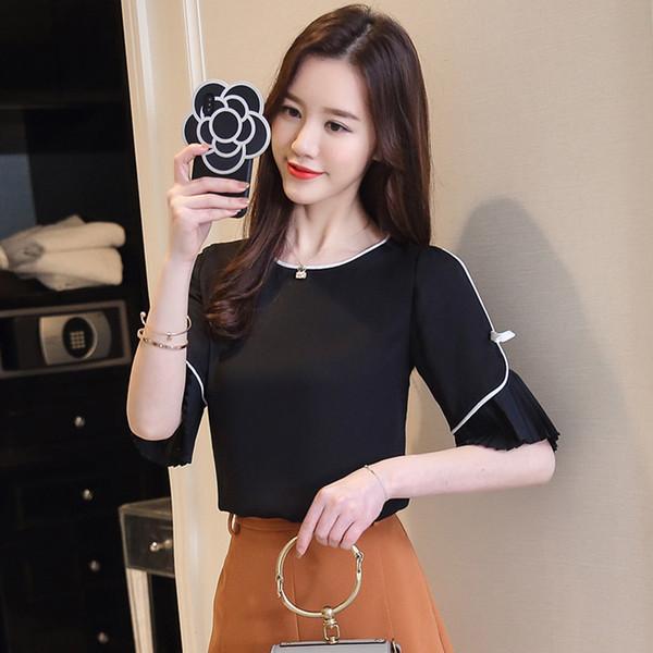 01ee948003a 2018 Летняя одежда новый стиль с короткими рукавами шифон женская корейская  версия