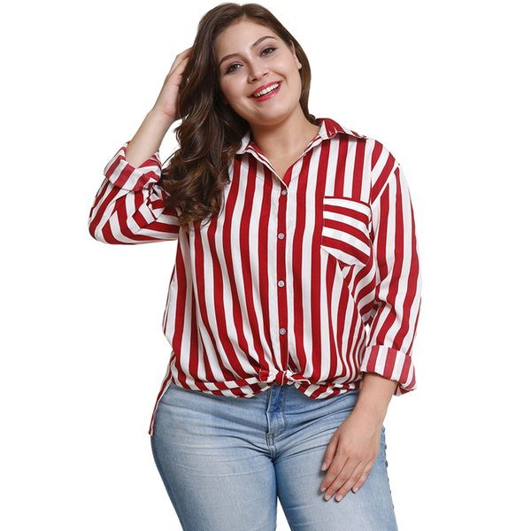 1046a3b7a2530 Plus Size Womens Striped Button Down Lapel Neck Shirt Casual Loose Blouse  Tops With Pocket