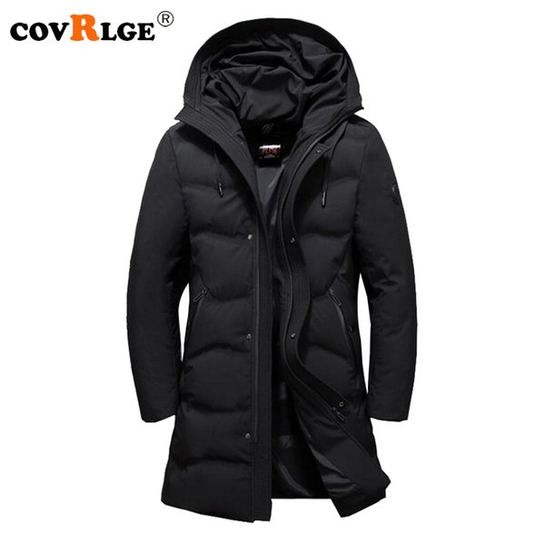 Covrlge Men's Down Jacket 2018 Winter New Men Hooded Duck Down Coats Male Fashion Slim Fit Long Thick Warm Jackets Brand MWY017