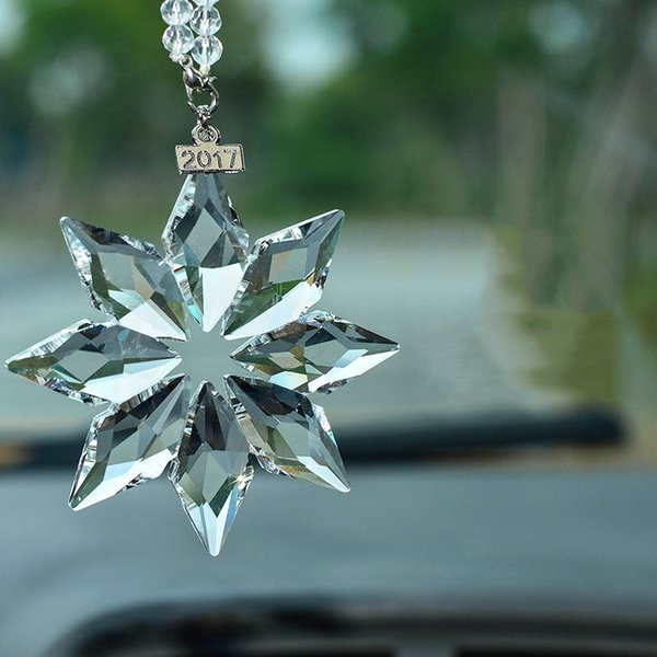 Styling Car Crystal Snowflakes Rear View Mirror Hanging Ornament Auto Interior Decoration Valentine Christmas Gift