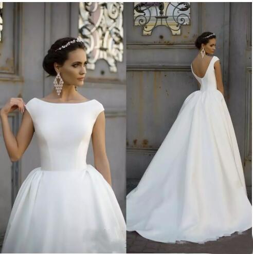 Атласная линия свадебное платье 2019 Boat Jewel Шея Ruched драпированные рукава Cap V Назад Плюс Размер Свадебные платья на заказ Простые свадебное платье