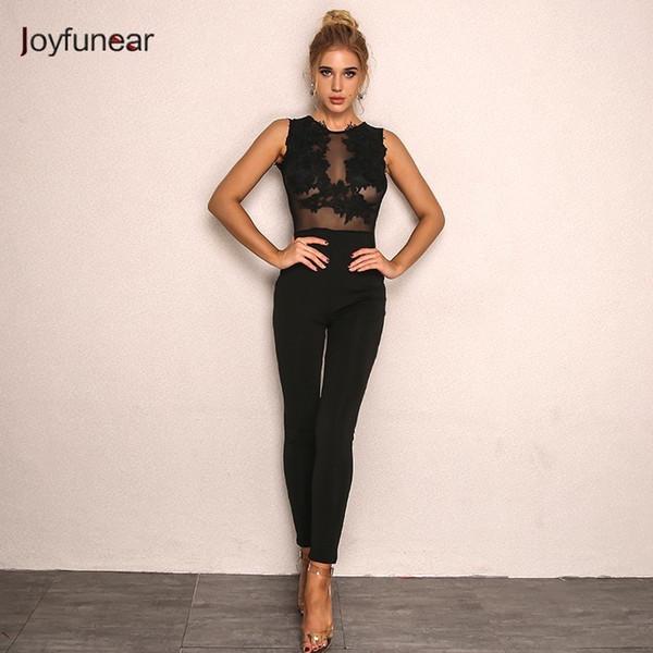 a2af16210029 Joyfunear Floral Lace Long Jumpsuits Back Zipper Bodycon Sexy Rompers  Womens Jumpsuit Plus Size Stitching Black Women Overalls