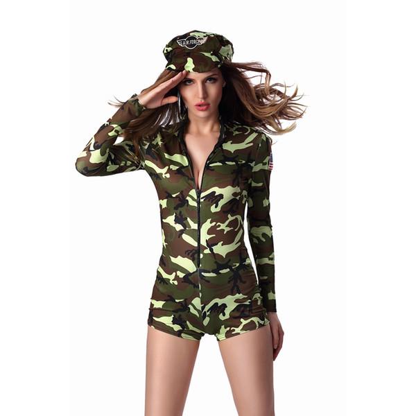 M-XL Seksi Yetişkin Kadın Ordusu Üniforma Kostüm Cadılar Bayramı Seksi Parti Kostümleri Asker Kadınlar Kamuflaj Renk Bodysuit