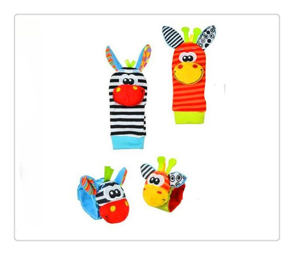Nuovo BestSeller Baby Socks Animal Baby Rattle Wrist asino Zebra Wrist Rattle and Socks toys (1set = 2 pcs wrist + 2 pcs socks)