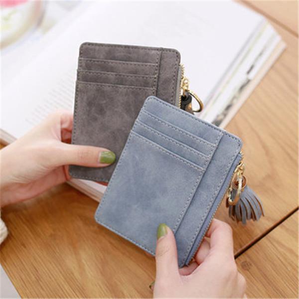 Nova Carteira Mulheres Slim Cartão Curto pequeno saco Pu couro crédito titulares Fina saco Tassel Zipper Carteiras Coin bolso Moda Clutch