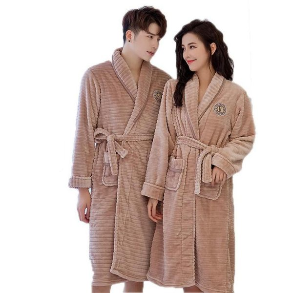 One Size Winter Thick Warm Flannel Robe Lovers Sleepwear Kimono Bathrobe For Women Men Nightgown With Belt Casual Home Clothes