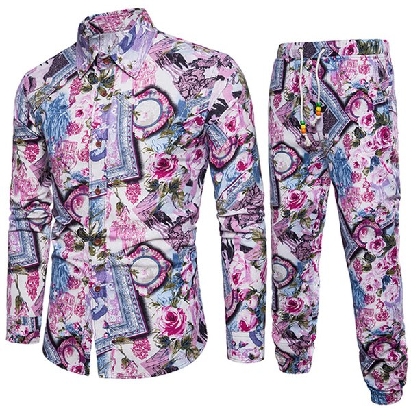 Flower Printed Men Clothing New Fashion Male Slim Tracksuits Gentleman Floral Vacation Suit 5XL Plus Size Pants And Shirts Set
