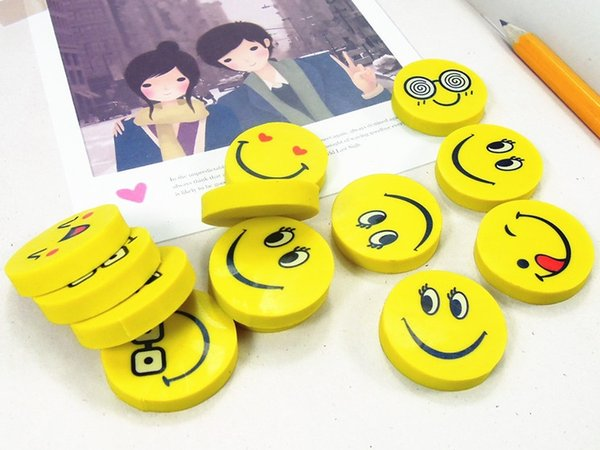 best selling Cute smiling face emoji eraser smile lovely eraser funny face smile style rubber Kids gift creative stationery