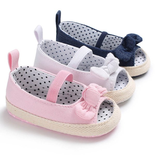 Summer Baby Canvas Shoes Dots Printed Bowknot Soft Sole Girl Toddler Infant Prewalker BM88