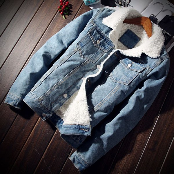 winter wool denim jacket men's cultivate one's morality with thick jacket copy young lambs wool cotton-padded clothes