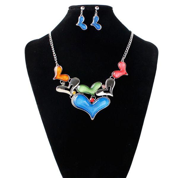 YAAYOO Women Love Heart Dendant Necklace Earring Set Statement Wedding Bridal Jewelry Choker Sets Gift PN170