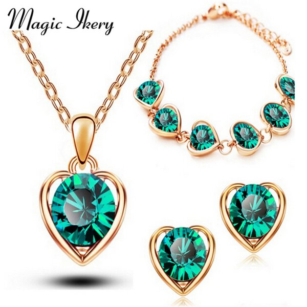 Fashion Jewelry Sets Magic Ikery New Arrival Gold Color Crystal Heart Fashion Costume Jewelry Sets for Women Necklace Earrings