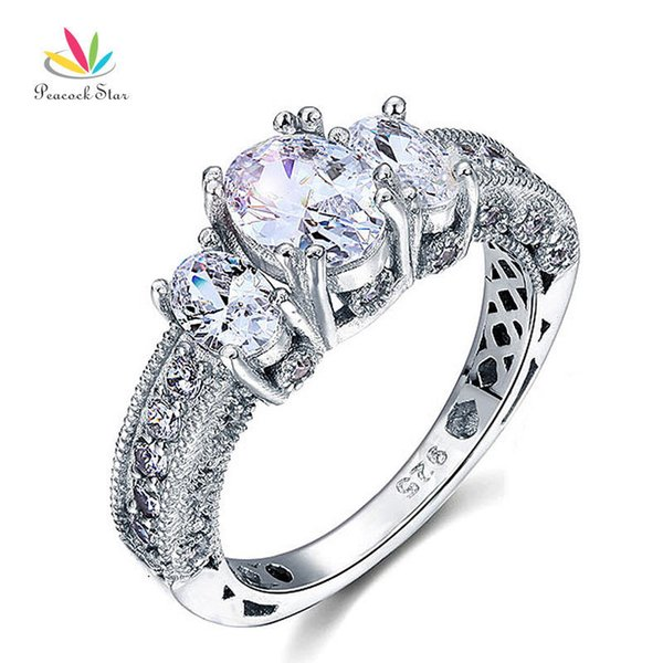 Peacock Star Vintage Style 2 Carat Solid 925 Sterling Silver Wedding Engagement Ring Jewelry CFR8093 S18101608