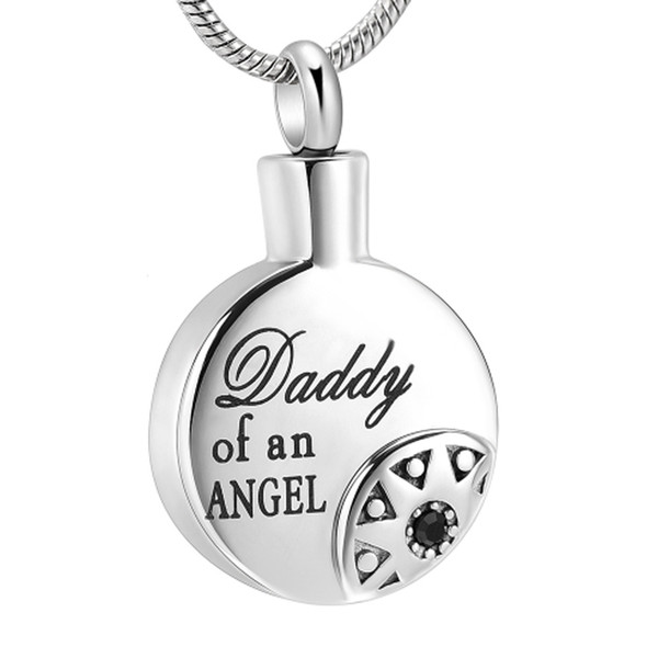 "Carved "" Daddy of an Angel "" Cremation Jewelry for Dad Memorial - Sun & Round Stainless Steel Memorial Urn Pendant Hold Ashes IJD10723"