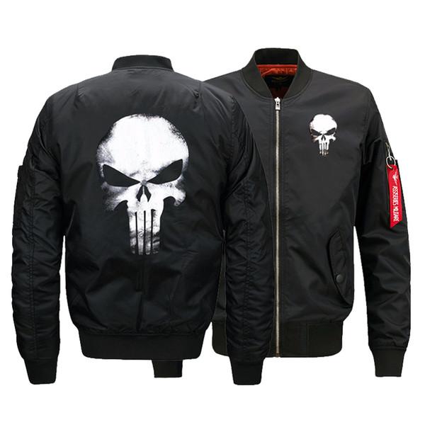 USA SIZE Men's Bomber Jackets Punisher Skulls Printed Warm Zipper FLIGHT JACKET Winter thicken Men Coats Fashion Clothings S18101805