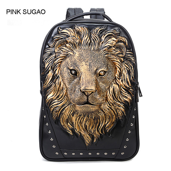 Pink sugao backpack men designer backpacks 3 color top pu leather backpack computer bag 3D print animal Anti-theft bag travel school