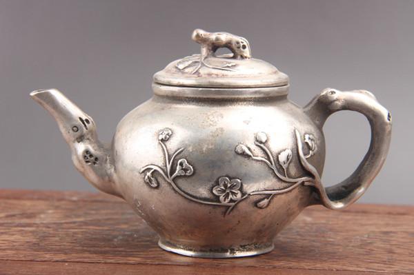 Chinesische Hand schnitzte weiße Cupronickel-Teekanne der Blume als511