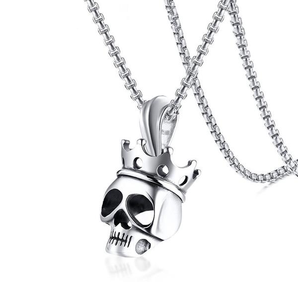 Krone Männliche 88 24 Halsketten Geschenke Silber Kette Ton Großhandel Anhänger Männer Solide Für Edelstahl Auf Von Schädel Gothic Keyigou7 ZTiPXOku
