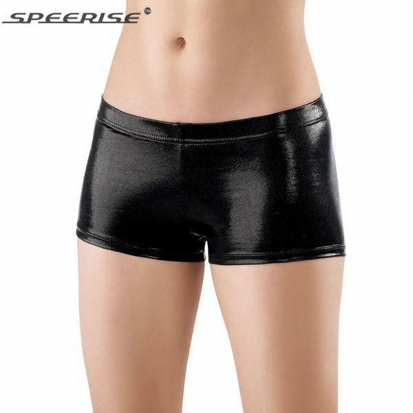 Speerise Womens Nylon Shiny Lycra Dance Spandex Shorts Jazz Metallic Dance Shorts Black Gold Yoga