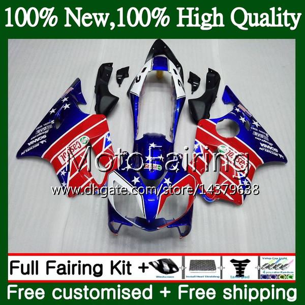 Cuerpo para HONDA Azul rojo CBR600F4 CBR600 F4 99 00 FS 44MF17 CBR 600F4 99 CBR600 FS Azul CBR600FS CBR 600 F4 1999 2000 Carenado Kit de carrocería