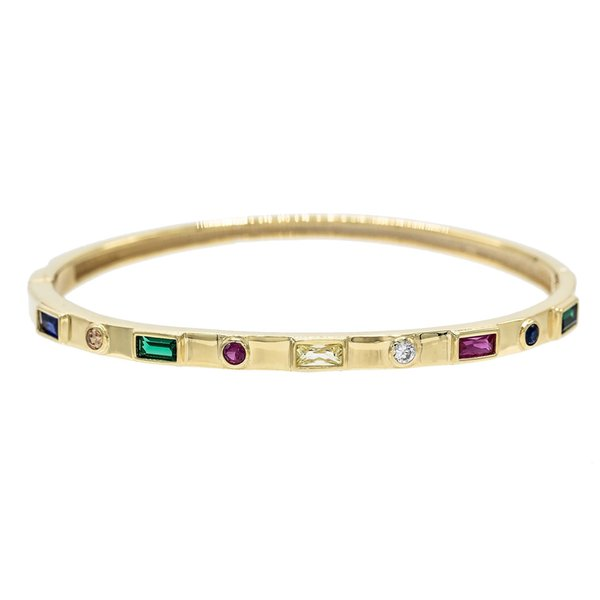 gold cuff bangle bracelet for women lady gift jewelry 2018 fashion design paved rainbow cubic zirconia gorgeous european jewelry