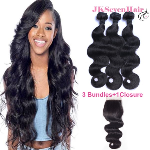 Natural Black 8A Grade Brazilian Body Wave Human Hair Extension 3PCS With 4x4inch Lace Closure Malaysian Peruvian Vietnamese Hair Weaves