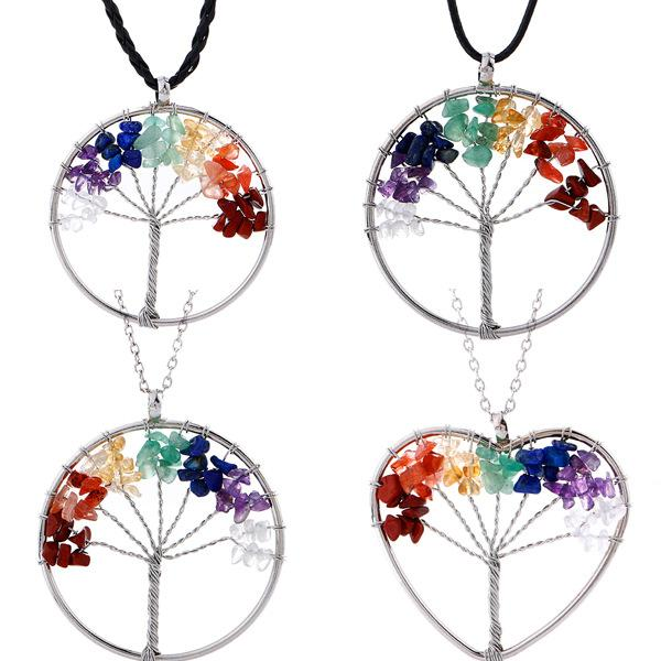 7 Chakra Tree Of Life necklaces Rainbow Natural Stone Quartz pendant Black Cord & Wire Rope chain For women Fashion Jewelry Gift