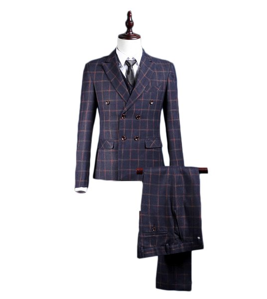 Lattice Men Suits 3 Pieces (Jacket+Pants+Vest) Double Breasted Classic Fit Suits Peaked Collar Wedding Party Tuxedos