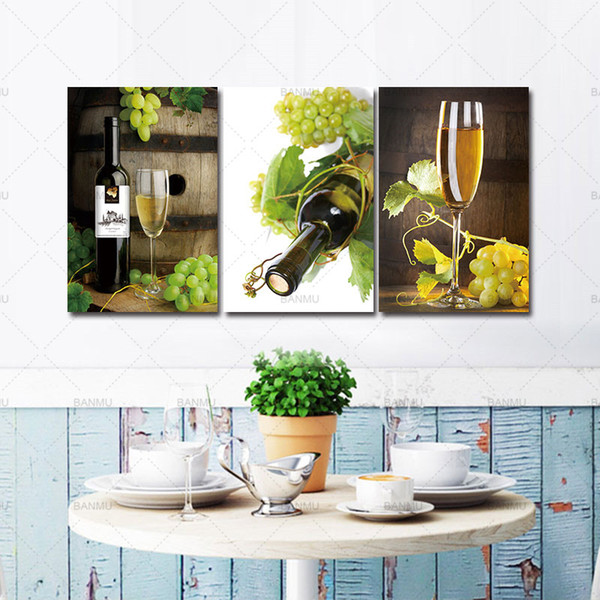 Canvas Prints Painting for Kitchen Living Room Wall Art Picturte 3 PCS Wall Art Fruit Grape Wine Glass Painting Modern No Frame