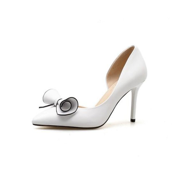 b4a12d5fde52 White High Heel Bow Bridal Shoes Leather Wedding Shoes For Women Fashion  Designer Sandal 2018 Popular