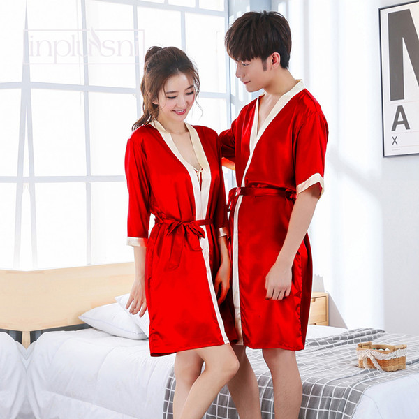 wholesale men's and women's Sleep & Lounge robes Autumn faux silk couple robes bathrobe bath red wedding men and women homewear