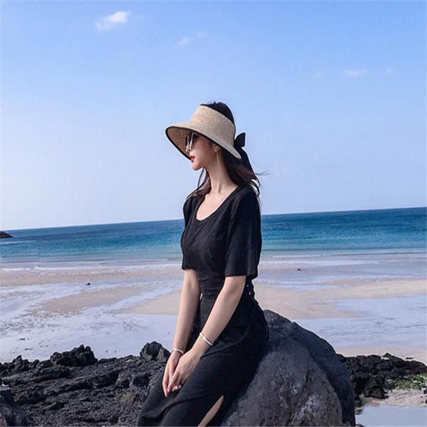 Women Sun Hats Large Brim Straw Hats Female Summer Lace Bow Visor Empty Top Hat UV Protection Beach Sun Shade Cap Panama