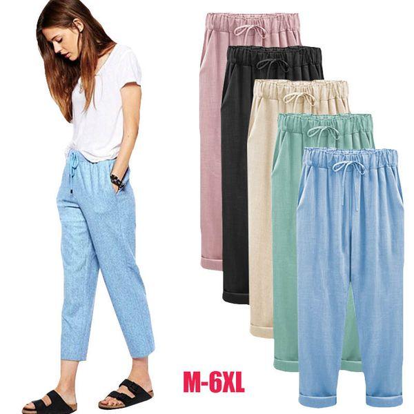 aede2d9b7b4 2018 Linen Pant Casual Womens Cotton Linen Elastic Waist Trousers Summer  Wide Leg Pants for Women Large Plus Size Harem Pants